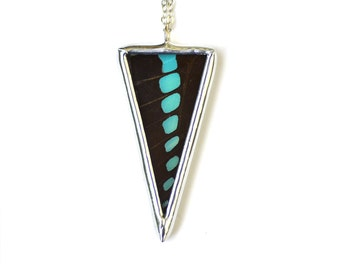 Graphium Sarpedon Butterfly Spike Necklace. Real Butterfly Wing Necklace. Geometirc Triangle Necklace.
