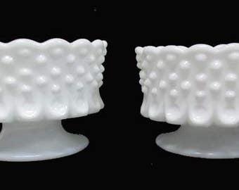 Vintage set of 2 Fenton Milk Glass Hobnail Nut Dishes