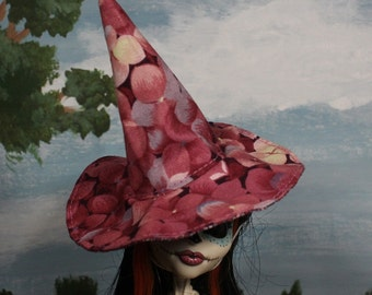 Pink Hydrangea Witch Hat for Slim Monster and Fashion Dolls
