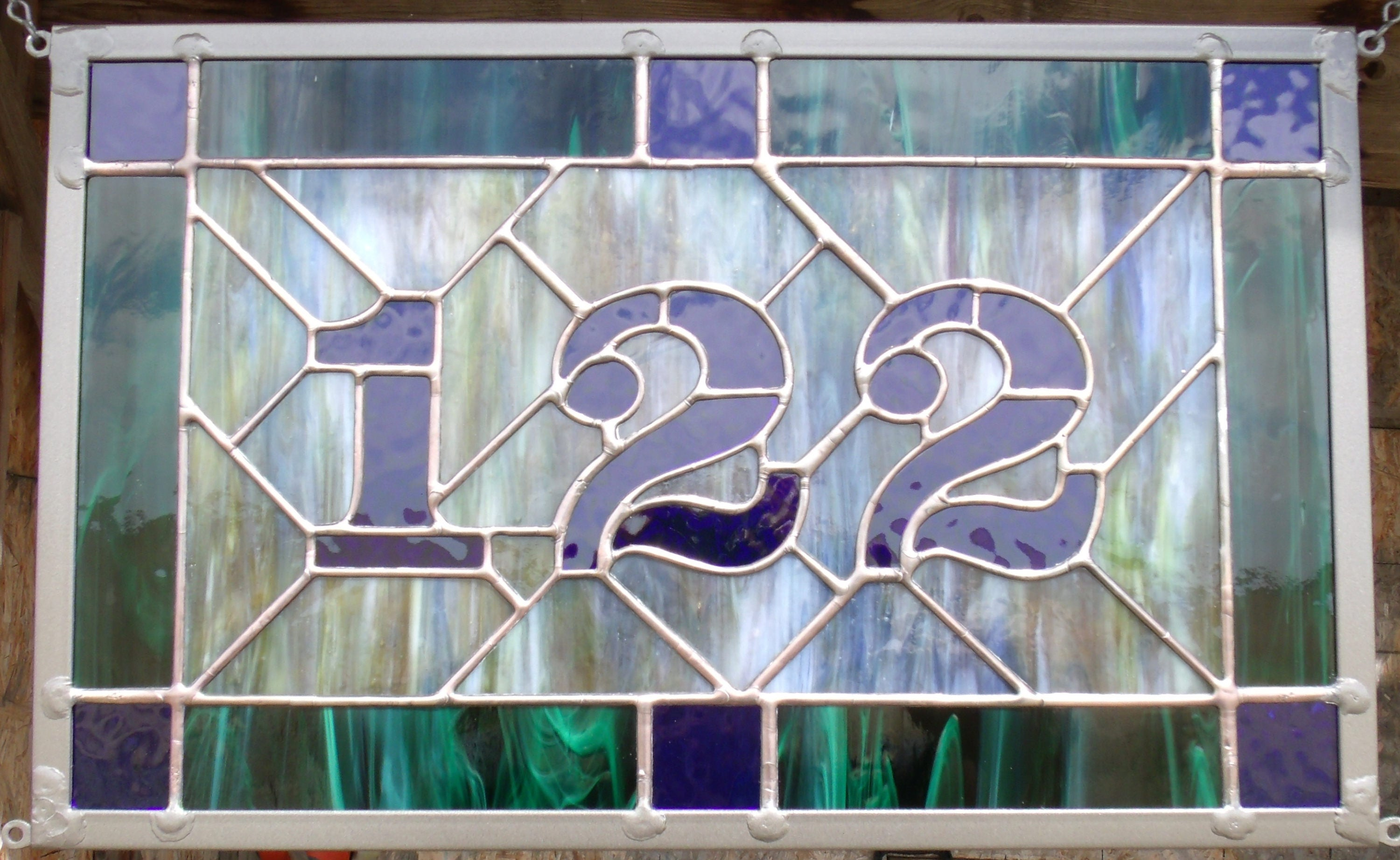 Custom Stained Glass Address Plaque House Numbers