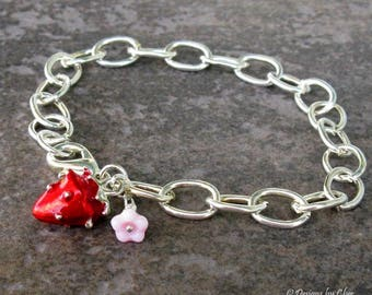 Strawberry & Glass Flower Charm Bracelet, Large Silver Oval Link - Red and Green Enameled Strawberry