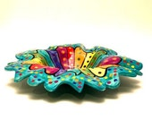 Pasta Bowls Rainbow Striped White Background Floppy Rim
