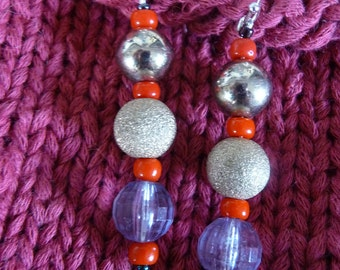 Valentines Gift for Her, silver, sparkle, dangle earring, jewelry, red, glass, metal, bead, Disco Balls.
