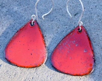 Enamel Earrings, Large Copper Rounded Triangles, Enameled Jewelry Red