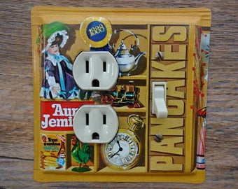 Americana Decor Lighting Aunt Jemima Tins Pancakes Syrup Outlet Light Fixture Switch Plate Combo Cover Made From A Tin Canister OLC-1168C-R