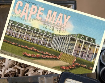 Vintage Postcard Save the Date (Congress Hall, Cape May, NJ) - Design Fee
