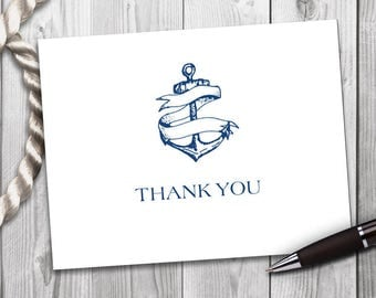 Anchors Aweigh Nautical Inspired Folded Thank You Note Cards