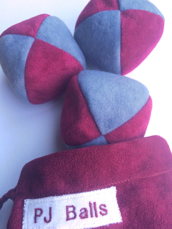 105g - 3 JUGGLING BALLS With Bag - Dark Red and Grey