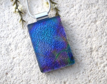 Purple Pink Jewel Tone Necklace, Dichroic Glass Pendant, Fused Glass Jewelry, Dichroic Glass Necklace, Silver Pendant Necklace, 103016p103