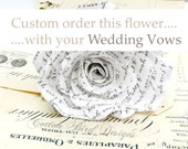 Cotton Anniversary Flower with Your Vows  Long Stem Rose Sweet engagement Anniversary Wedding Gift   - Made to Order