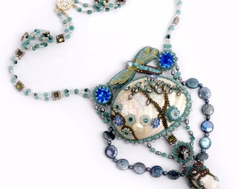 Mermaid Fairy Tales Necklace, Mother of Pearl Shell, Vintage filigree dragonfly, Blue and gray Swarovski Rivoli Crystals, blue, teal, bronze