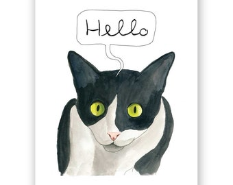 Hello Cat - 8x10 Art Print