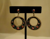 Black and Pink Flowered Screw Back Earrings Dangle Style Round Circles Black Enamel Pale Pastel Pink and Berry Colored Hand Painted Flowers