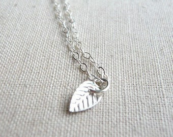 Leaf necklace - petite necklace - sterling silver necklace - dainty necklace - tiny necklace  - delicate necklace - Tiny leaf silver