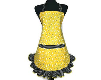 Honey Bee Apron for Women , Yellow with black and white stripe Ruffle , Retro Kitchen Decor , Bee Hive / Bee Keeper