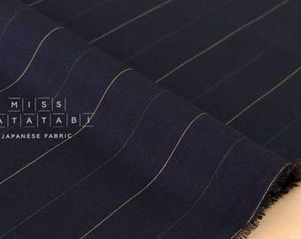 Japanese Fabric lawn stripes - very dark blue - 50cm