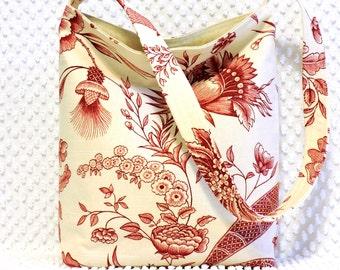 French Floral Hobo Bag Purse, Handmade Red Jacobean Botanical Fabric Ladies Handbag