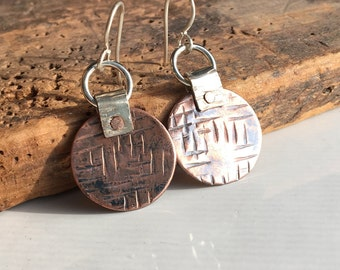 Hammered Earrings, Textured Earrings, Copper Disc Earrings, Dangle Earrings, Silver Filled, Copper, Etsy, Etsy Jewelry