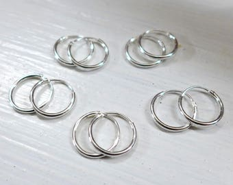 5 Pairs 12mm Sterling Silver Hoop Earring Endless Hoop earwire F336