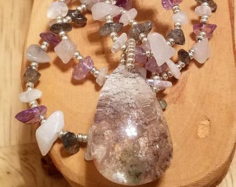 Winter Blizzard grey white and light purple teardrop pendant and gemstone chip one of a kind adjustable necklace