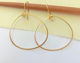Petal Hoop Earrings. Hammered Petal Hoops. Large Teardrops. Gold Hoop Earrings. Silver Hoop Earrings. Rose Gold Hoops