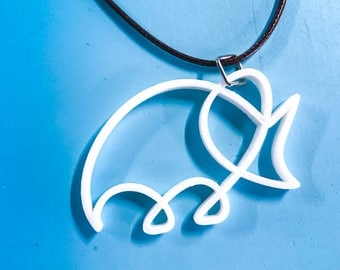 Abstract Dinosaur 3d Printed Necklace - Plastic Jewelry - ABS - artistic necklace - 3d printed Jewelry