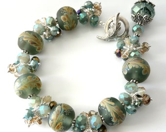 Lampwork Bracelet and Earrings, Soft Sage Green, Caramel, Aqua, Leaf Design, Silver Beaded Jewelry, Two Piece Set, OOAK, Crystal Clusters
