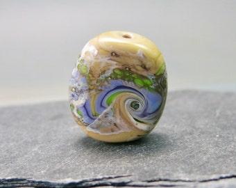 Handmade Lampwork Organic Focal Bead by GlassBeadArt  ... SRA F12 ... 24x21mm  sand green purple flat freeformed focal