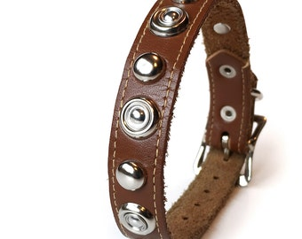 Brown Leather Dog Collar with Silver Metal Studs, Size S, to fit a 9-11in Neck, EcoFriendly, Small Dog Collar, Seattle Handmade, OOAK