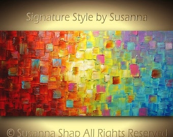 ORIGINAL Art Abstract Painting Thick Impasto Textured Palette Knife Oil Painting Wall Art Modern Art Multi Color by Susanna Made to Order