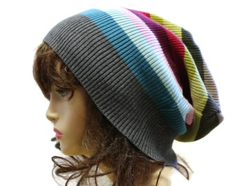 Slouchy Beanie Upcycled Recycled Sweater Slouch Beanie Oversized Hat Dread Tam Rainbow Beanie