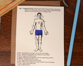 letterpress fig. 1 anatomy of a dad illustrated father's day card science work ethic dad jokes shoulders burdens