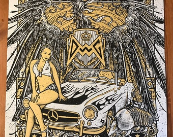 Dean Ween Group Texas Hotrod Pinup Silver Pearlescent Variant Gigposter Poster by GIGART