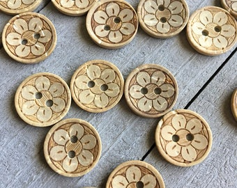 "Buttons (B60) Five 15mm - 5/8"" Round with Flower Coconut Shell Buttons for Sewing Crochet Knitting Crafts"