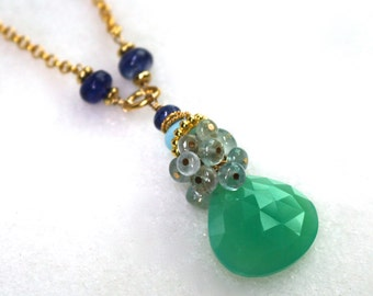 Chrysoprase, Aquamarine, Opal and Blue Sapphire Necklace in 22kg Vermeil....