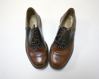 JCrew . 80s 90s brown leather saddle shoes . women's size 39 EU / 8.5 US . made in Italy