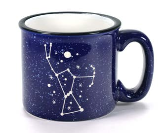 CUSTOM Navy Blue Camp Mug - ceramic cobalt speckled coffee cup