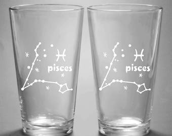 Pisces Zodiac Constellation Pint Glass