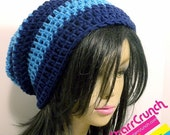 ReOpening Sale 25% Off Slouchy Beanie Crochet Hat in Navy and Sky Blue