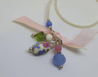 Floral Ivory Handmade Lampwork Bead Beaded Bookmark Book Thong Pink Blue