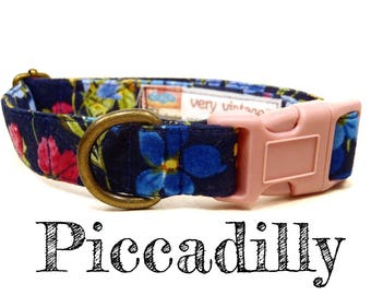 "Navy Blue Vintage Inspired Girly Pink Purple Floral Flowers Dog Collar - Antique Brass Hardware - ""Piccadilly"""