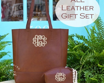 Gift Set of 2 - Unlined Monogrammed Leather Tote and Cosmetic Bag in Toffee, Personalized Leather handbags, Monogram leather gift for wife
