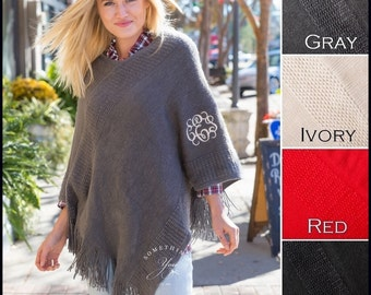 SALE - Monogrammed Poncho with Fringe - 4 colors - Personalized Shawls, Monogrammed Shawl, Womens Ponchos, Gray, Cream, Ivory, Red, Black