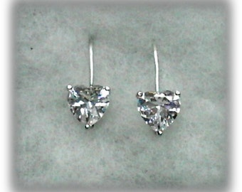 8mm White Cubic Zirconia Hearts on 925 Sterling Silver Leverback Earrings