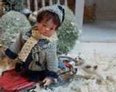 One Inch Scale Dollhouse OOAK Artdoll boy child Miniature By Woolytales