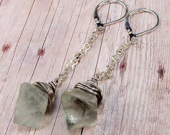 LAMPLIGHTER Earrings - Green Natural Raw Rough Fluorite Crystals, Silver-Filled, Silver Plated Lever Backs