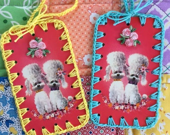 Cutie Poodle Dogs - 2 Crochet Ornaments / Tags / Cards - Recycled Vintage Bridge Tallies
