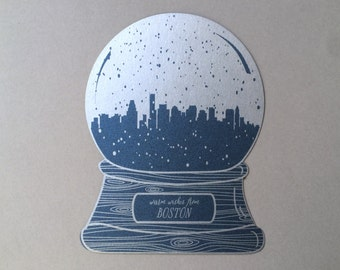Boston snow globe, warm wishes