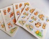 Vintage Hallmark Card Sticker Sheets Animals Bears Bunnies Frogs