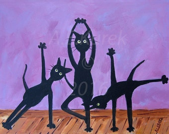 Yoga Cats in Lavender - 8 x 10 Print of Cats Doing Yoga - Cat Art Print - Yoga Print - Yoga Gift - Gift for Cat Lover - Cat Art - Yoga Art